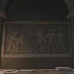一个男人被带到华盛顿面前的雕刻画
