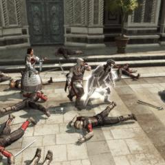 Ezio schiet te hulp.