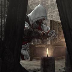 Ezio ouvrant le coffre contenant le parchemin