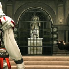 <b>Mario</b> parlant à Ezio dans la Crypte