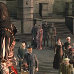 Ezio se tournant vers les autres Assassins