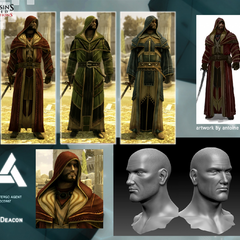 Models of the Deacon, showing his customization options