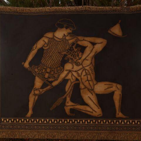 饰有忒修斯击杀弥诺陶洛斯纹样的挂毯