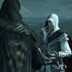 Mario geeft Ezio een brief.