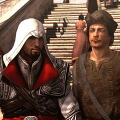 Ezio s'apprêtant à arrêter les gardes