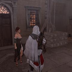Ezio rapportant l'antidote à la courtisane