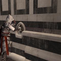 Ezio actionnant le mécanisme du passage secret