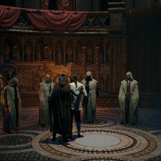 Arno rejoignant la Confrérie des Assassins