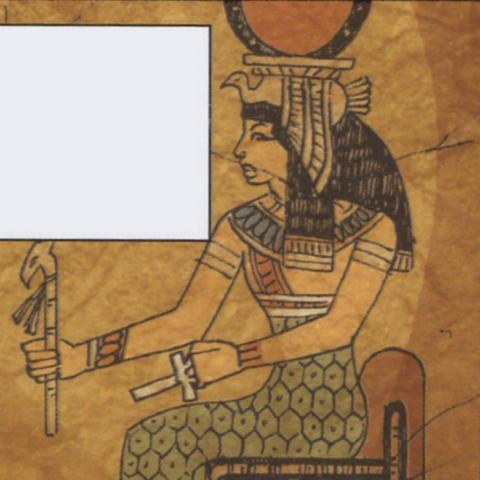古城墙上画着艾西斯拿着阿赛特节杖和安卡