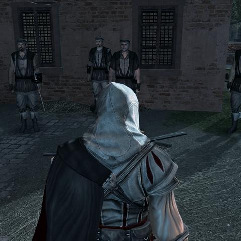 Ezio donnant ses ordres aux mercenaires