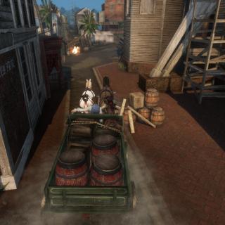 Aveline et Gérald Blanc à bord d'un chariot de poudre