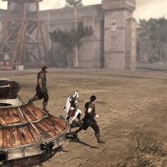 Ezio et les mercenaires sortant du char