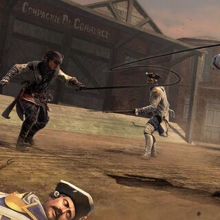 Aveline用鞭子缠住卫兵的脖子并拉到自己跟前。
