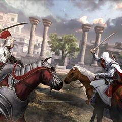 Ezio attaquant un cavalier sur sa monture