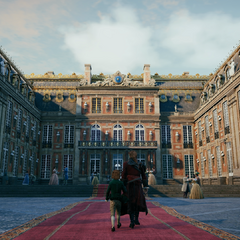 幼年阿尔诺和父亲在凡尔赛宫前