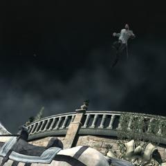 Ezio sautant en selle pour regagner les remparts