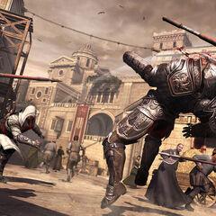 Ezio lançant une hache sur le crâne d'une brute