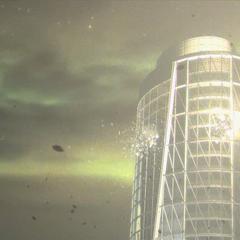 被闪电击中的摩天大楼