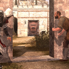 De burger vertelt Ezio over Gaspar.