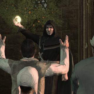 Savonarola tentant de maîtriser la foule grâce à la Pomme d'Éden