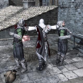 Ezio assassinant les deux premiers gardes