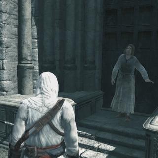Altaïr luistert naar de heraut.