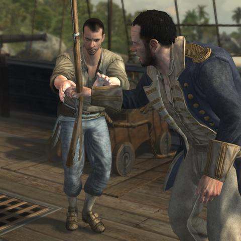 Richard passant un mousquet à un membre d'équipage