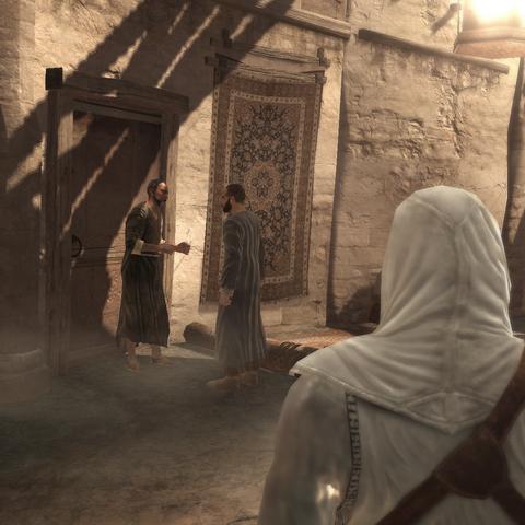 Altaïr luistert de koerier en de burger af.
