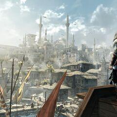 埃齐奥在眺望君士坦丁堡的一个口岸
