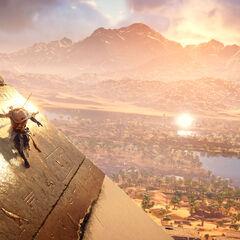 Bayek glissant le long d'une pyramide