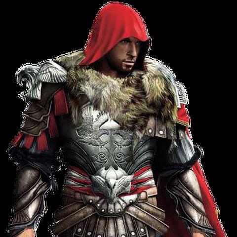 Ezio Auditore wearing Brutus' armor