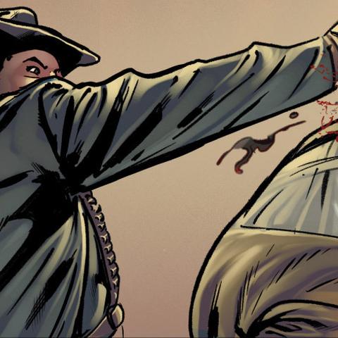 L<b>Assassin américaine</b> éliminant un ennemi à l'aide de sa <a href=