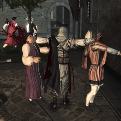 Ezio assassinant les deux premiers conjurés