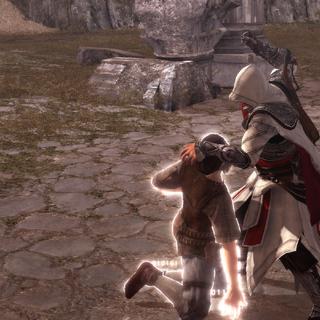 Ezio affrontant l'un des membres de Cento Occhi à mains nues