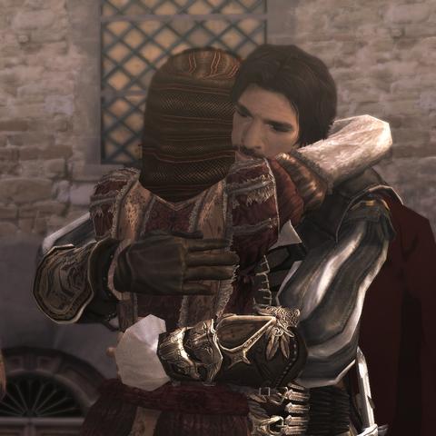 Ezio embrassant sa sœur Claudia à son retour