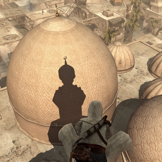 从尖塔上俯瞰清真寺