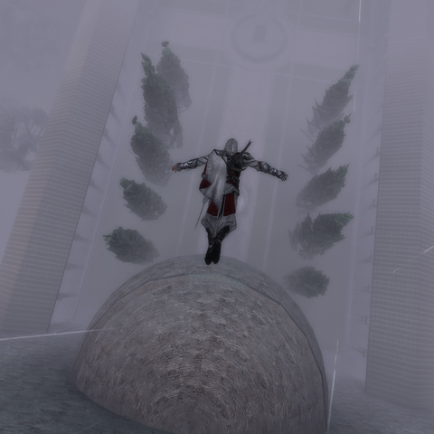 Ezio effectuant un saut de la foi du haut de la <b>basilique</b>