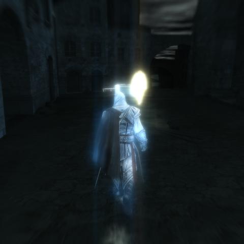 Ezio prenant un des membres de la guilde en filature