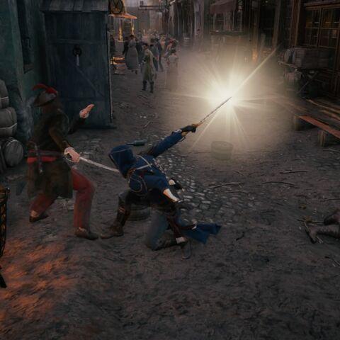Arno utilisant l'<b>Aigle de Suger</b> en combat avec son pouvoir