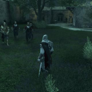 Un groupe de gardes s'approchant d'Ezio à l'extérieur de la Villa Salviati
