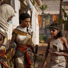 Bayek et son épouse Aya interrogeant deux prêtresses