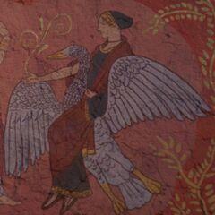 一幅描绘阿佛洛狄忒骑鹅的壁画