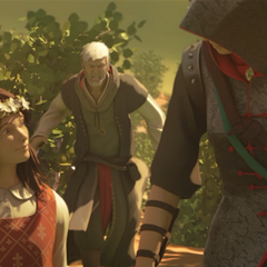 Shao Jun with Flavia, and Ezio running toward them.