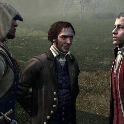 康纳在康科德与巴雷特和威廉·戴维斯会面