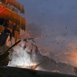 Le <i><b>Morrigan</b></i> bombardant un fort