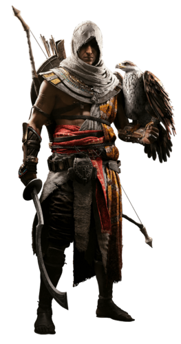 "Bayek i <a href=""/wiki/Senu"" title=""Senu"">Senu</a> w <a href=""/wiki/Assassin%27s_Creed:_Origins"" title=""Assassin's Creed: Origins"">Assassin's Creed: Origins</a>"