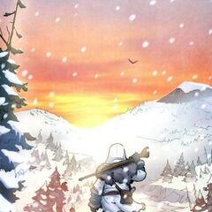 <b>Innokenti</b> marchant au soleil couchant.