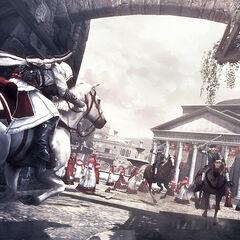 Ezio riding through the city towards the Pantheon