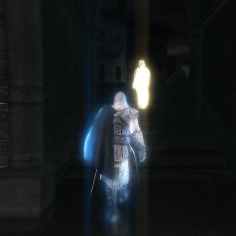 Ezio prenant l'invité en filature