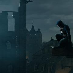 Arno ayant une vue d'ensemble de la Cour des miracles